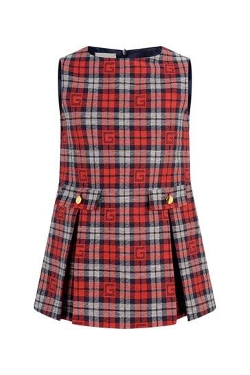 여자 빨간 체크 드레스