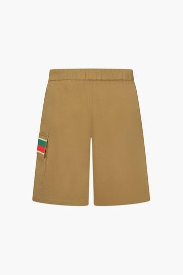 Boys Brown Cotton Shorts
