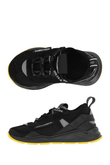 Boys Black Lace-Up Trainers