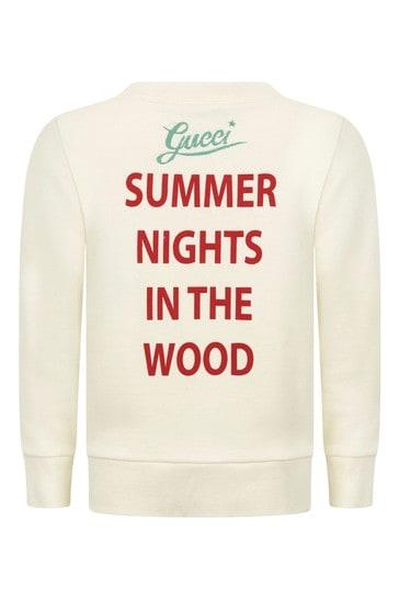 Girls White Cotton Summer Night Sweatshirt
