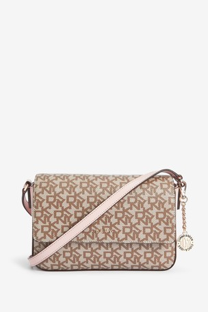 DKNY Bryant Logo Print Flap Cross Body Shoulder Bag