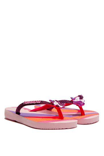 Girls Pink Unicorn Flip Flops