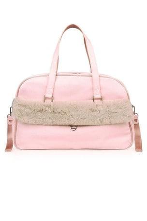 Pink Faux Fur Trim Changing Bag
