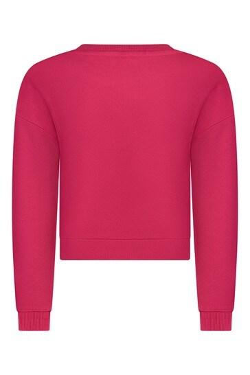 Girls Fuchsia Pink Cotton Sweater