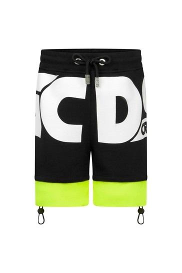 Kids Black Cotton Shorts