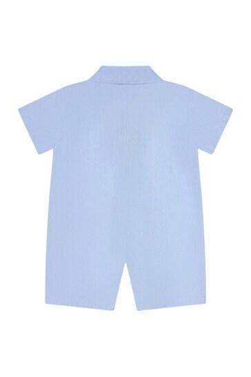 Baby Boys Blue Cotton Shortie Romper