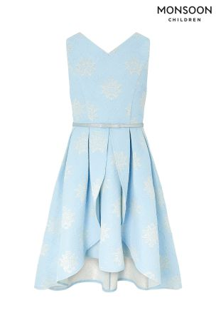 large discount best place well known Monsoon Blue Katie Jacquard High Low Prom Dress