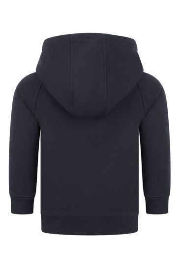 Baby Boys Navy Cotton Hooded Sweater
