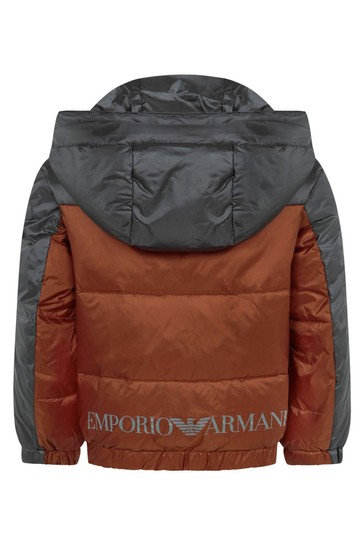 Boys Charcoal And Red Padded Jacket