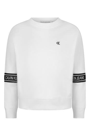 White Organic Cotton Logo Tape Sweater