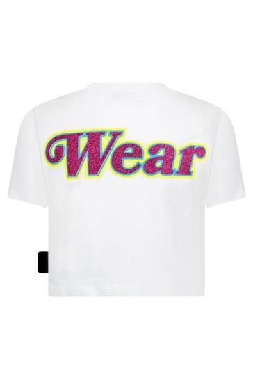 Girls White Cotton T-Shirt