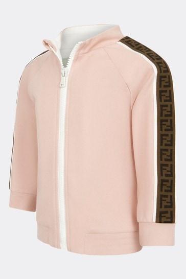 Baby Girls Pink Cotton Zip Up Top