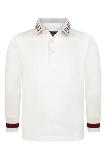 Boys White Cotton Long Sleeve Polo Top
