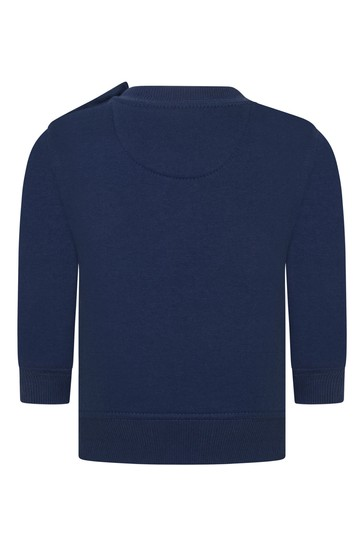 Baby Boys Blue Cotton Crew Neck Sweater