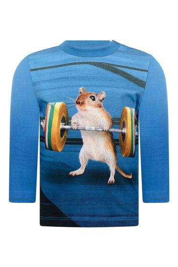 Baby Boys Blue Mouse Organic Cotton Long Sleeve T-Shirt