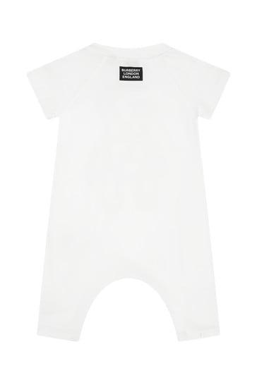 Baby White Cotton Romper