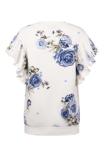 Girls Ivory/Blue Rose Cotton Dress