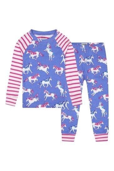 Girls Purple Dreamy Unicorns Organic Cotton Raglan Pyjama Set