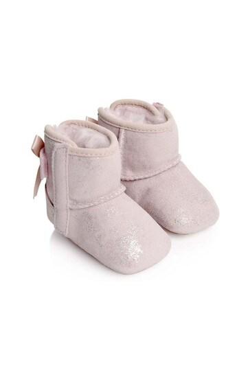 بيبي بنات ضوء الوردي وميض جيسي القوس الأحذية
