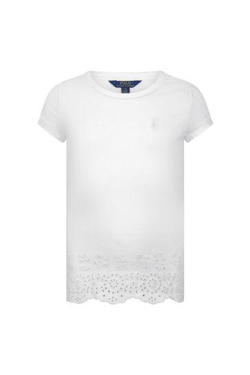 Girls White Cotton Jersey Eyelet Top