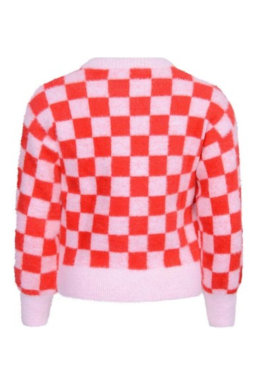 Girls Red/Pink Checkered Knitted Sweater