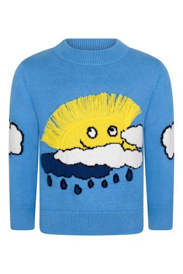 Boys Blue Instarsia Sun & Clouds Jumper