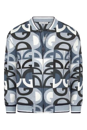 Dolce & Gabbana Boys Blue Cotton Zip Up Top
