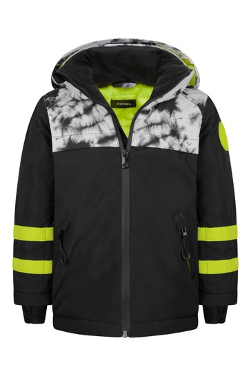 소년 블랙 타이 염료 스키 재킷