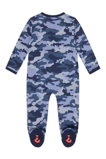 Boys Blue Camouflage Cotton Babygrow