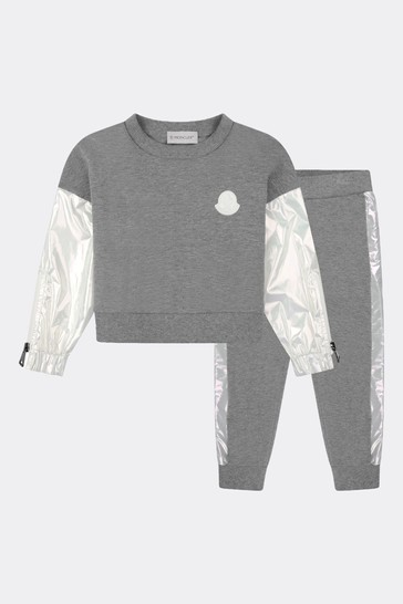 Girls Grey Cotton Tracksuit