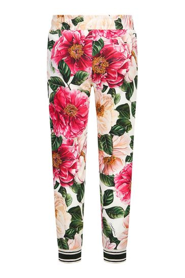 Dolce & Gabbana Girls Pink Cotton Joggers