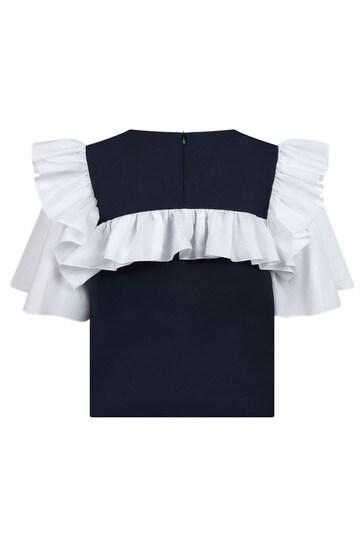 Girls Navy Boxy Blouse