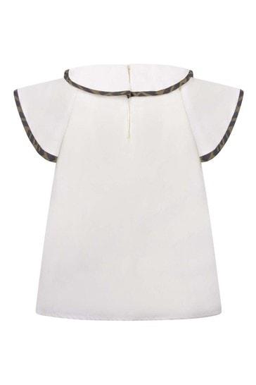 Girls White Cotton Ruffle Blouse