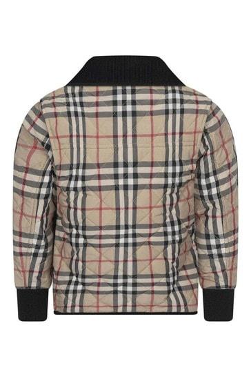 Boys Beige Vintage Check Quilted Jacket