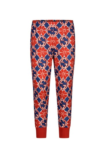 Girls Navy And Red Technical Jersey Joggers