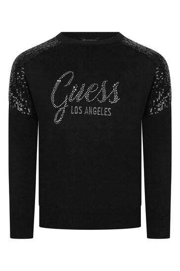 Girls Black Branded Sweater