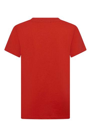 키즈 레드 코튼 티셔츠