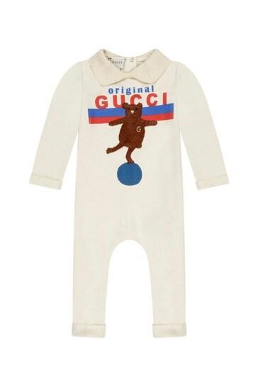 Baby White Cotton Bear Print Babygrow