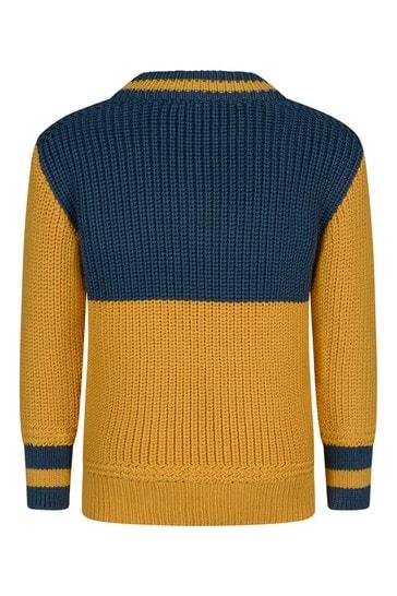 Boys Navy Knitted Wool Logo Jumper