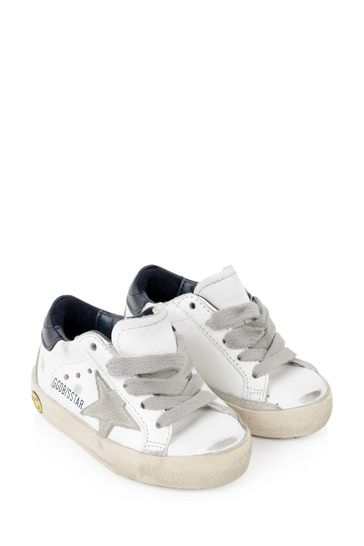Kids White Leather & Suede Star Superstar Trainers
