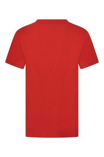 Boys Red Crew Neck Top