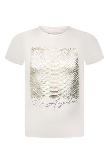 Girls White Cotton Logo T-Shirt