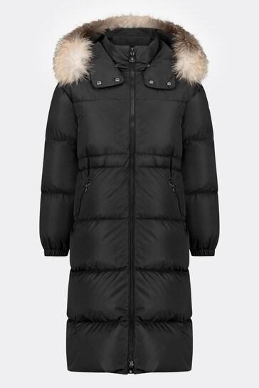 소녀 블랙 다운 패딩 티암 코트