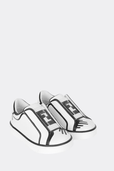 Kids White/Black Leather Logo Trainers