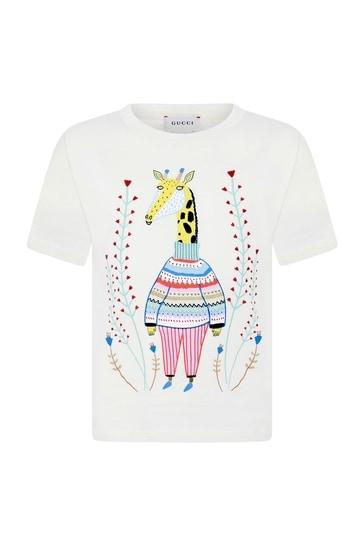 Girls Cream Cotton Giraffe T-Shirt