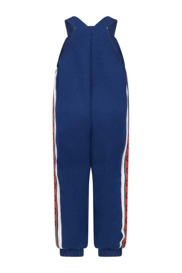 Baby Boys Blue Cotton Jersey Dungarees
