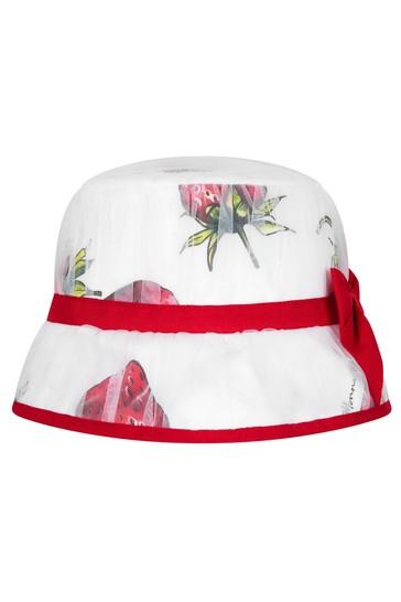 Girls White Cotton Hat