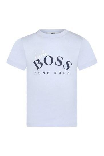 BOSS Baby Boys Blue Cotton T-Shirt