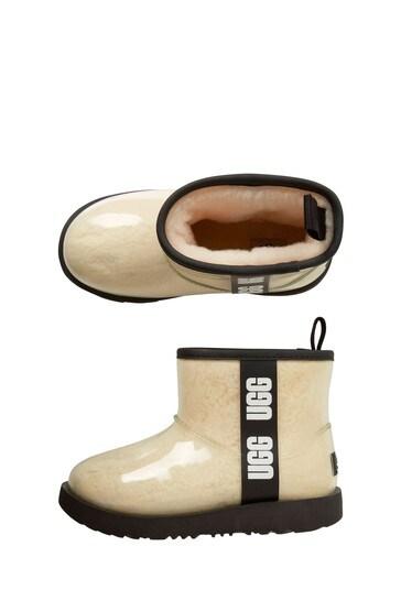 Girls White Classic Clear Mini Boots
