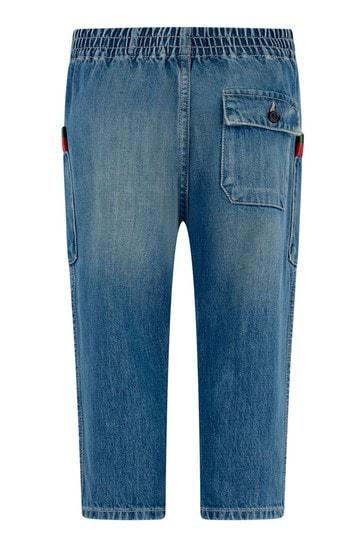 Boys Blue Bleached Denim Jeans